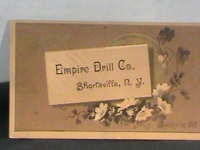 trade card: comp. Empire Drill Co., Shortsville, NY, Jan. 1, 1885 brown wash