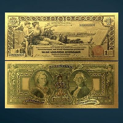 24K Gold Foil Plated 1896 $1 Dollar Banknote Novelty Money With/sleeve