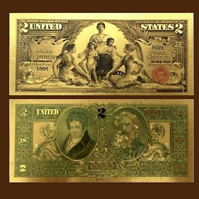 24K Gold Foil Plated 1896 $2.00 Dollars Banknote Novelty Money With/sleeve