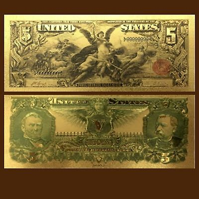 24K Gold Foil Plated 1896 $5.00 Dollars Banknote Novelty Money With/sleeve