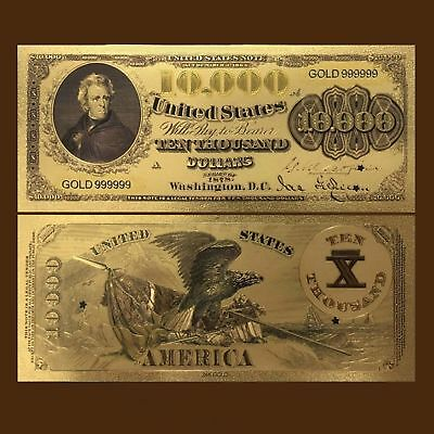 24K Gold Foil Plated 1878 $10,000 Dollars Banknote Novelty Money With/sleeve