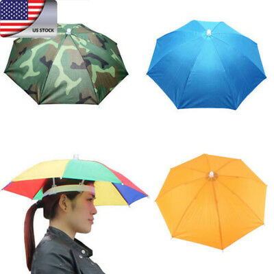US UNISEX Umbrella Hat Rain Raining Cover Heat Adjustable Colorful Folding Cap