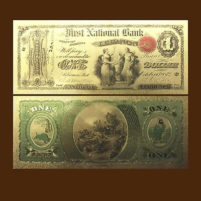 24K Gold Foil Plated 1875 $1 Dollars Banknote Novelty Money With/sleeve