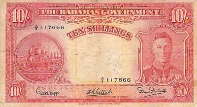 BAHAMAS GOVERNMENT 10 SHILLINGS NOTE 1936 P-10d