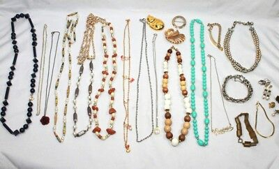 Lot Of 22 Vintage Estate Jewelry Drawer Collection Of Necklaces & Other