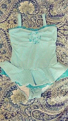 girls light blue gingham swimsuit size 4T