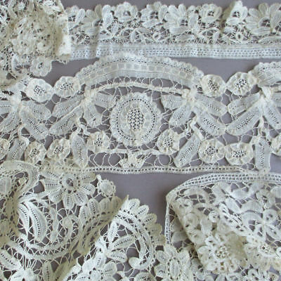 5 Antique Handmade French BRUSSELS Duchesse Bobbin LACE Collar + Trims * DOLLS +