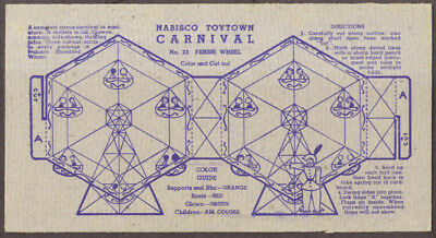 Nabisco Toytown Carnival card #23 Ferris Wheel 1946