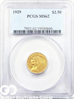 1929 PCGS Quarter Eagle, $2.5 Gold Indian PCGS MS 62 ** Very Nice, Free S/H!