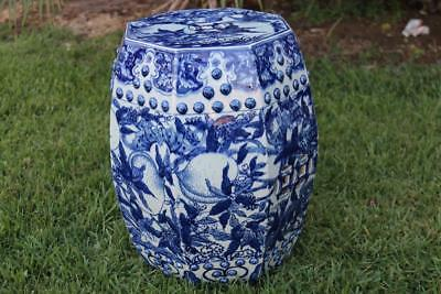 Fine and Old Chinese Blue & White Porcelain Garden Seat Fine Garden Stool.
