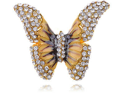 Adjustable Yellow Golden Tone Clear Crystal Colored Rhinestones Butterfly Ring