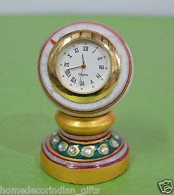 """3"""" White Marble Table Clock Natural Stone Handpainted Decor Wedding Gifts H693"""