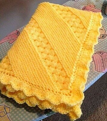 Lace & Garter Panel Baby Blanket with Frilled Edge  DK Knitting Pattern