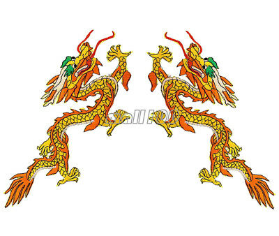 YELLOW CHINESE DRAGON Embroidered Patch Coat Badges Sew Iron on Applique DIY