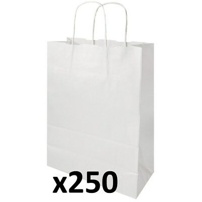 250 x White 8.5 Litre Recycled Kraft Paper Carrier Bags 36 x 24cm N4HY#