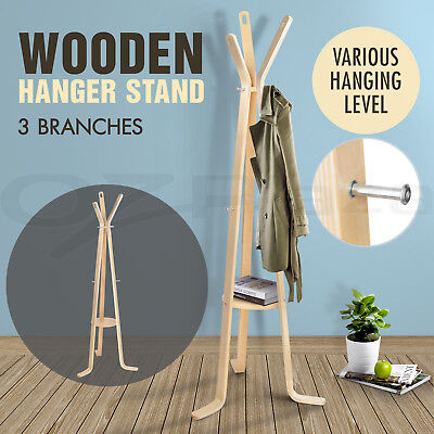 Artiss Coat Hanger Stand Rack Clothes Wooden Hat Jacket Bag Umbrella Hook Beige