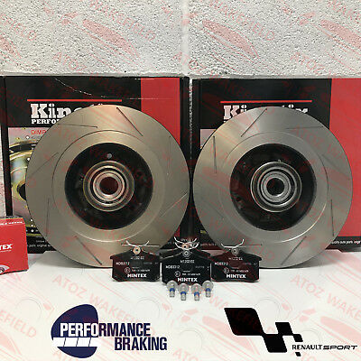 For Renault Megane Sport Rs 250 265 275 Rear Grooved Brake Discs Mintex Pads