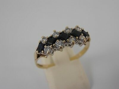 9ct YELLOW GOLD CUBIC ZIRCONIA & SAPPHIRE CLUSTER RING  SIZE S   HALLMARKED
