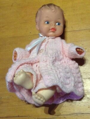 Beautiful Vintage Doll in Pink Knitted Dress & Jacket Palitoy England