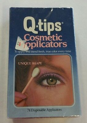 Vintage Q-Tips Cosmetic Makeup Applicators 1980s 74 Disposable New Sealed in Box