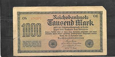 GERMANY #76b GOOD CIRCULATED 1000 MARK 1922 OLD BANKNOTE PAPER MONEY CURRENCY