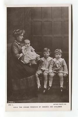The Crown Princes of Sweden & children - old royalty real photo postcard