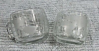 Pair Vintage 1970's Nestle Nescafe Coffee Glass World Globe Mugs Cups FREE S/H
