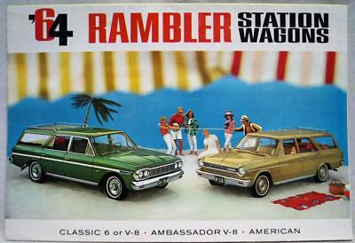 1964 Amc Rambler Station Wagon Car Advertising Sales Brochure Guide Vintage