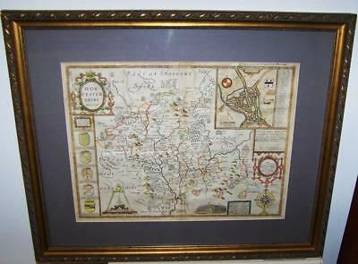 Original 1676 JOHN SPEED MAP Of WORCESTERSHIRE Early Hand Colour FRAMED