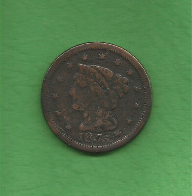 1855 Braided Hair, Large Cent, Slanted 5's, Knob On Ear - 163 Years Old!!!