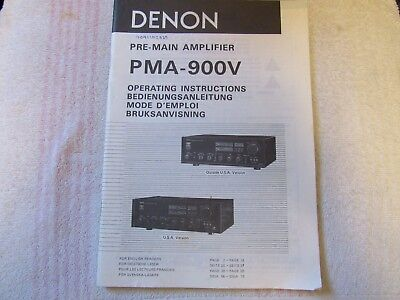 Denon Brand. Model Pma-900V. Pre-Main Amplifier. Owner's Manual.