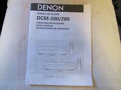 Denon Brand. Model Dcm-380/280. Stereo Multi Cd Player. Owner's Manual.