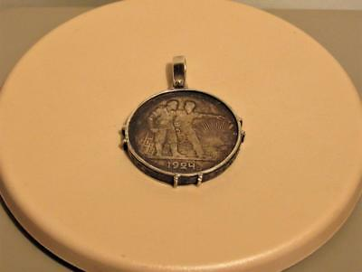 Russia USSR 1 Rouble 1924 Soviet Union Sterling Silver Framed Necklace Pendant