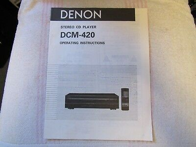 Denon Brand. Model Dcm-420. Stereo Multi Cd Player. Owner's Manual.