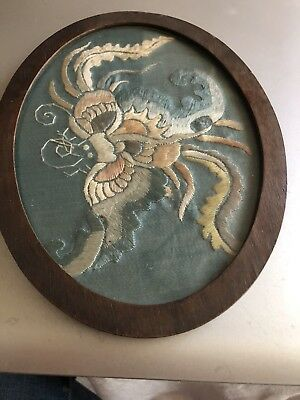 Beautiful Antique Japanese Framed Silk Embroidery Dragon