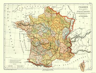 Map Of France Provinces.International Map Ancient Provinces Of France Contambert 1868