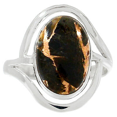 Copper Black Turquoise 925 Sterling Silver Ring Jewelry s.9 RR163143