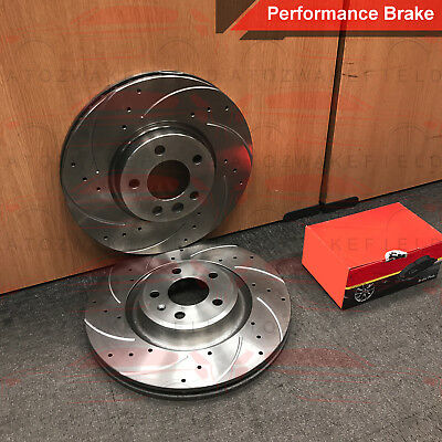FOR BMW 5 SERIES E60 E61 535d M SPORT FRONT DRILLED GROOVED BRAKE DISCS PADS 348