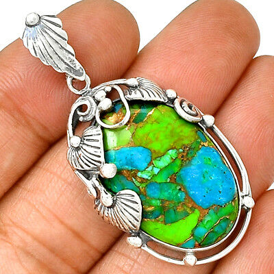 Southwest Style - Blue Turquoise In Green Mohave 925 Silver Jewelry PP171111