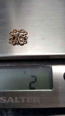 10 kt gold pin signed l with tiny pearl vintage 2 grams