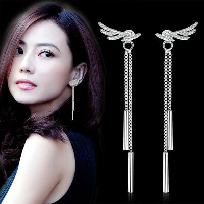 Women 925 Sterling Silver Angel's Wings Zircon Crystal Tassel Long Stud Earrings