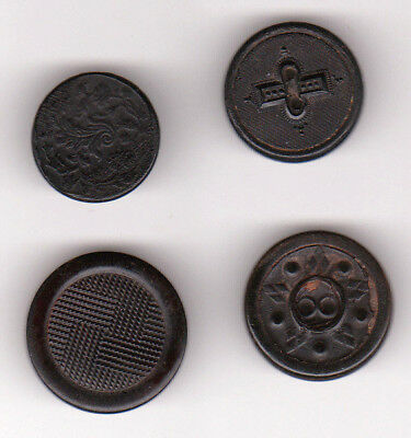 4 HORN backmark ANTIQUE BUTTONS -A & B, WILLIAM PLATT & SON, A.P.C. DEPOSE PARIS
