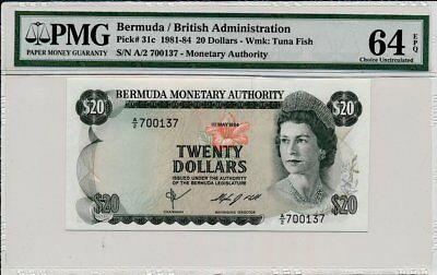 British Administration Bermuda  20 Pounds 1984  PMG  64EPQ