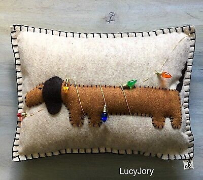 Christmas Dachshund Felt Pillow Doxie Tangled in Lights
