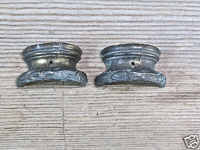 Mantle shelf clock capital tops pillar bases old antique brass color pewter