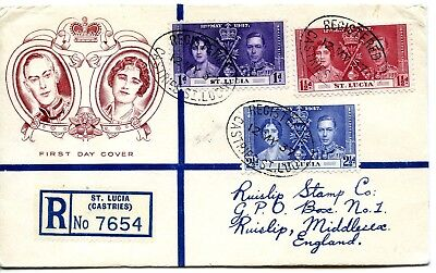 1937 Coronation St. Lucia Illus. Fdc Clear Castries Registered Cds Pmks Vgc