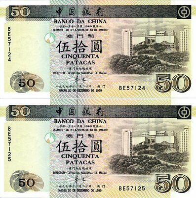 Banco da China Macau  50 Patacas 1999   Choice Unc  2 Pcs in cont. no