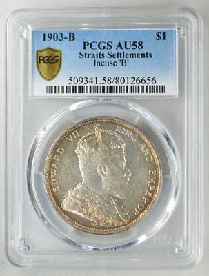 King and Emperor Edward VII Straits Settlements  $1 1903-B Incuse B PCGS  AU58