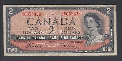1954 $2 Dollars Devil's Face - Coyne Towers - Prefix B/B - Bank of Canada - F180