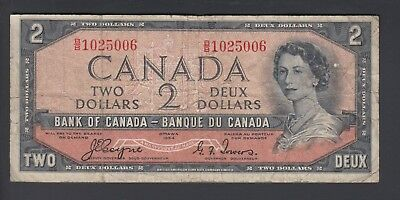 1954 $2 Dollars Devil's Face - Coyne Towers - Prefix B/B - Bank of Canada - F181